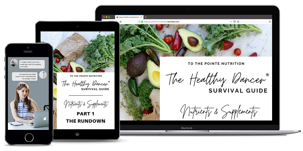 iPhone, iPad and laptop computer with Nutrition for Dancers - Free Course on screen.