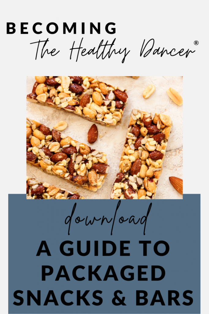 free download for dancers- packaged snacks and bars